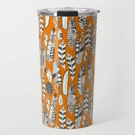 joyful feathers orange Travel Mug