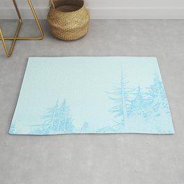 Icy forest in ice blue Rug