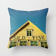 Sunny Yellow House Throw Pillow