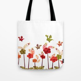 Imaginary Vintage Feather Flower Dragons Tote Bag