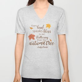 Fluttering from the Autumn Tree - A Fall Quote Unisex V-Neck
