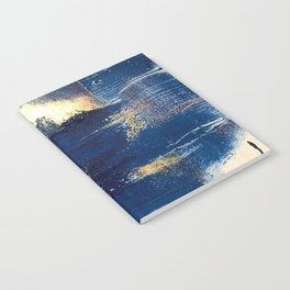 Halo [2]: a minimal, abstract mixed-media piece in blue and gold by Alyssa Hamilton Art Notebook