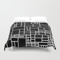phil jones Duvet Covers featuring BW Pattern PHIL by MehrFarbeimLeben