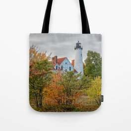 PORT IROQUOIS LIGHTHOUSE AUTUMN PHOTO - MICHIGAN UPPER PENINSULA FALL IMAGE - LANDSCAPE PHOTOGRAPHY Tote Bag