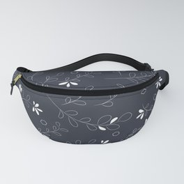 White Flowers on Gray Fanny Pack