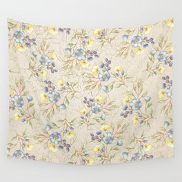 Vintage ivory linen blue yellow gold floral pattern Wall Tapestry