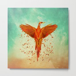 Phoenix Rising -Mixed media Metal Print