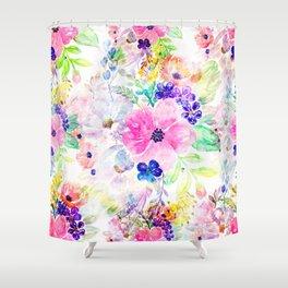 Pretty watercolor floral hand paint design Shower Curtain