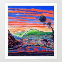 psychadelic Art Prints featuring  Surf Art Psychadelic  by Surf Art Gabriel Picillo