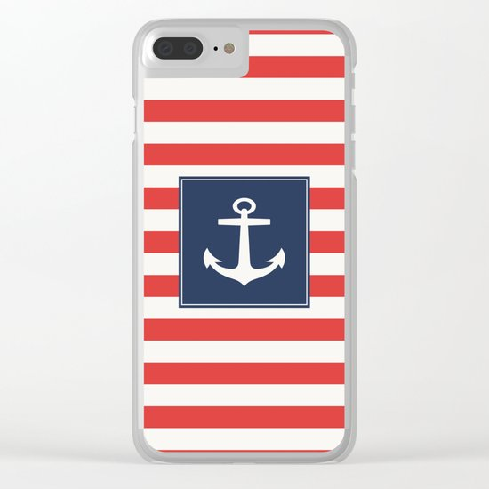 Anchor on red and white stripes Clear iPhone Case