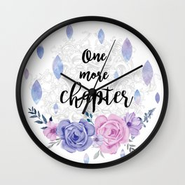One more chapter - Flower Drops white watercolor illustration Wall Clock