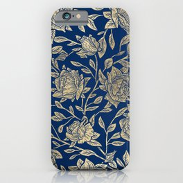 Elegant Classic Navy Blue Gold Luxury Roses Flowers iPhone Case