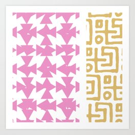 White, Pink, Gold Pattern Art Print