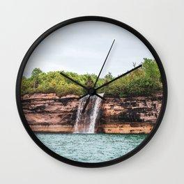 Water Fall at Pictured Rocks, Michigan Wall Clock