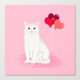 Cat breed white cats valentines day heart balloons kitty cat gifts Canvas Print