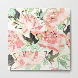 Floral Cranes Metal Print