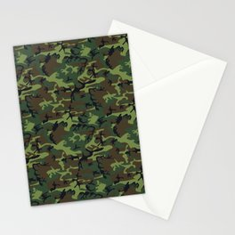 Green and Brown Camouflage Pattern Stationery Cards