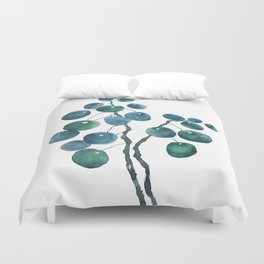Chinese money plant watercolor Duvet Cover