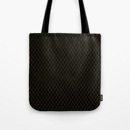 Luxury Gold Argyle - Black (Small Pattern) Tote Bag