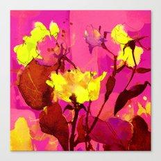yellow flowers on fuchsia Canvas Print