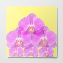 TROPICAL PINK ORCHIDS & YELLOW FLORAL ABSTRACT Metal Print