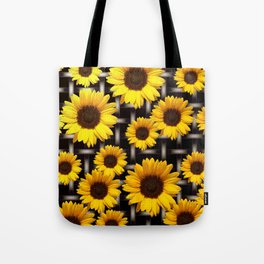 Bright Yellow Sunflower and Industrial Grid Pattern Tote Bag