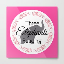Three Elephants Reading Metal Print