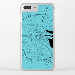 Dublin Ireland Turquoise on Black Street Map Clear iPhone Case