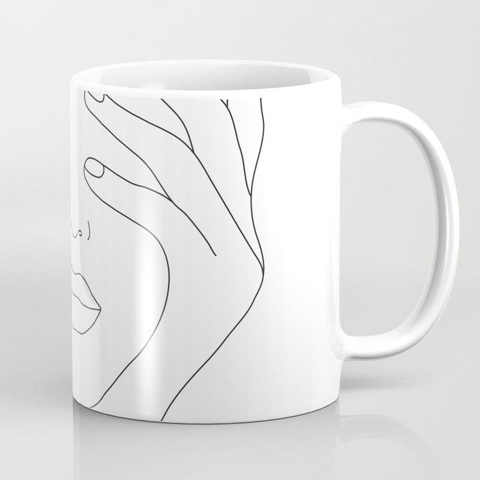 Minimal Line Art Woman with Hands on Face Kaffeebecher