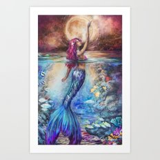 Moonlit Siren Art Print