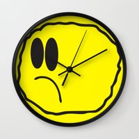 coldplay Wall Clocks featuring Lonely Meatball - Yellow by kiwimonk