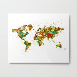 Map of the World watercolor Metal Print