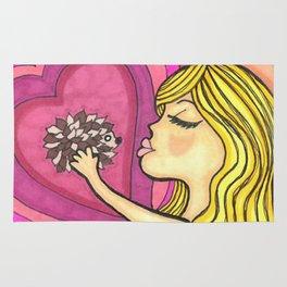 Girl Kissing Hedgehog Rug