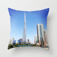 wiz khalifa Throw Pillows featuring Dubai Burj Khalifa by MyndVu