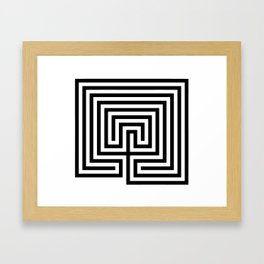 Cretan labyrinth in black and white Framed Art Print