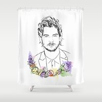 louis Shower Curtains featuring Louis Tomlinson by Mariam Tronchoni