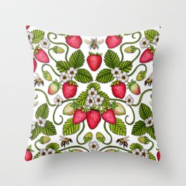 Strawberries & Honey Bees - Spring/Summer Pattern Throw Pillow