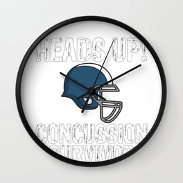 Heads Up Concussion Survivor Brain Injury Awareness Wall Clock