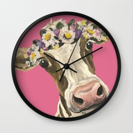 Cute Cow Art, Colorful Flower Crown Cow Art Wall Clock