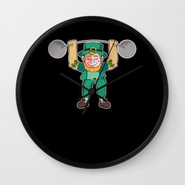Leprechaun Lifting Weights for Irish folklore lovers Wall Clock