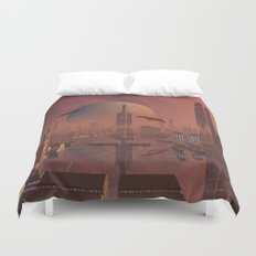 Futuristic City with Space Ships Duvet Cover