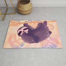 Playful sloth hanging in a colorful jungle Rug