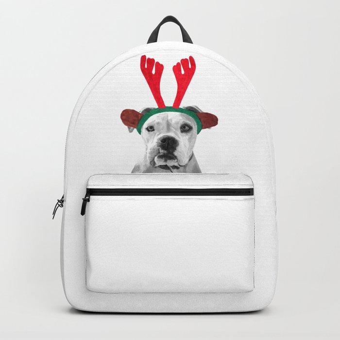 Black and White Boxer Christmas Rucksack