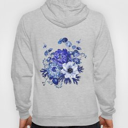China Blue Porcelain, Asia, Peony, Flower, Floral, Cyan Hoody
