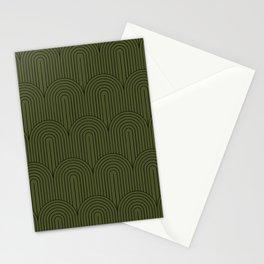 Art Deco Arch Pattern VIII - Dark Green Stationery Cards
