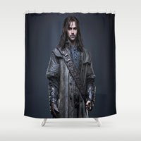 the hobbit Shower Curtains featuring aidan turner,hobbit  , hobbit  games, hobbit  blanket, hobbit  duvet cover,lord of the rings by ira gora