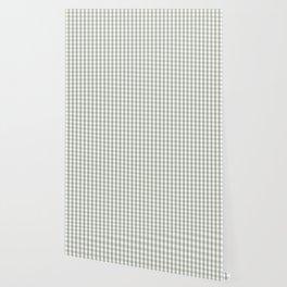 Desert Sage Grey Green and White Gingham Check Wallpaper