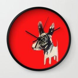 Red bulldog Wall Clock