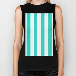 Vertical Stripes - White and Turquoise Biker Tank