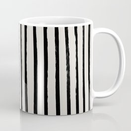Vertical Black and White Watercolor Stripes Coffee Mug